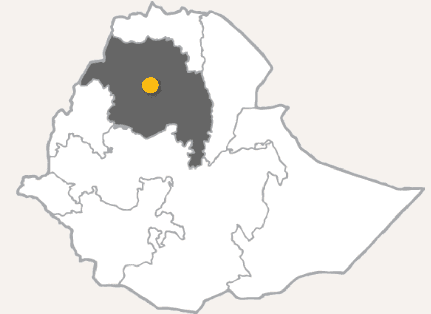 A map showing that Libo Kemkem is in the northwestern part of Ethiopia.
