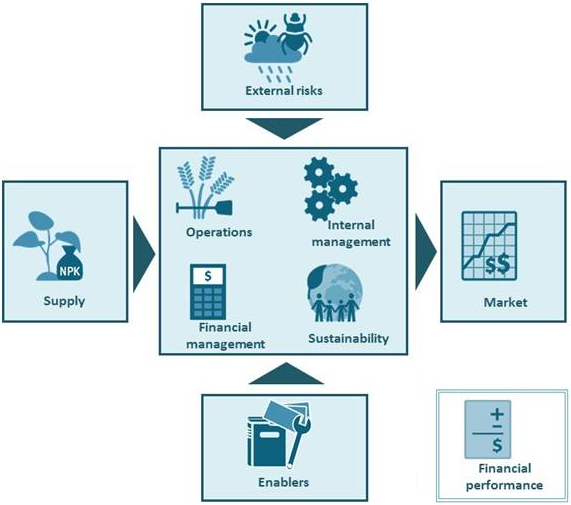 A picture of the different SCOPE dimensions and how they feed into each other. The center of the graphic shows operations, internal management, financial management, and sustainability. Feeding into that are external risks, supply, and enablers. It leads into market. Financial performance, the additional dimension for the SCOPE Pro, is on the outside.