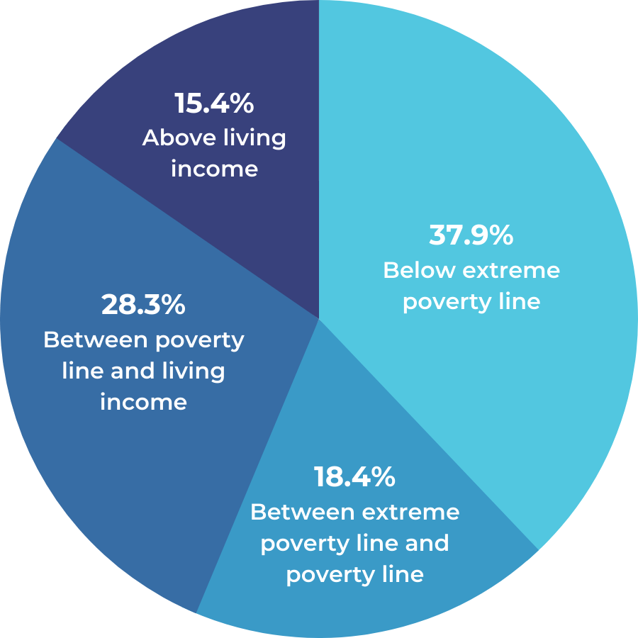 A pie chart showing the income levels of cocoa farmers in Cote d'Ivoire. 37.9% earn below the extreme poverty line. 18.4% earn between the extreme poverty line and the poverty line. 28.3% earn between the poverty line and a living income. 15.4% earn above a living income.