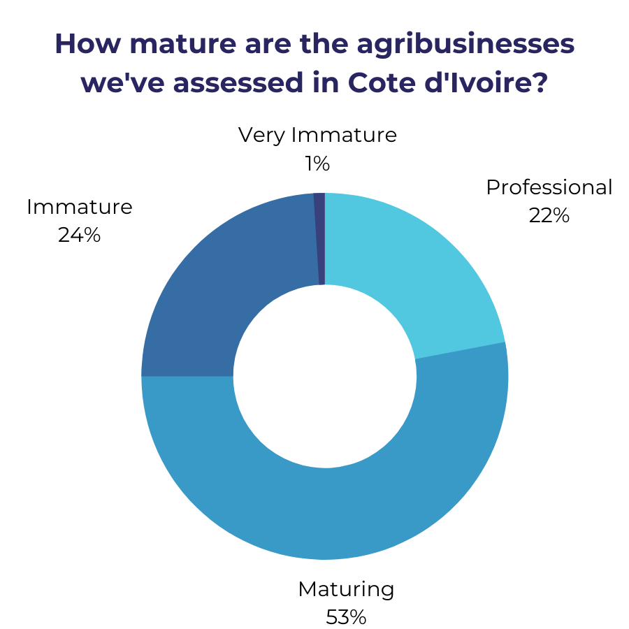 A donut chart showing how mature the agribusinesses we've assessed in Cote d'Ivoire are. 1% are very immature, 24% are immature, 53% are maturing, and 22% are professional.
