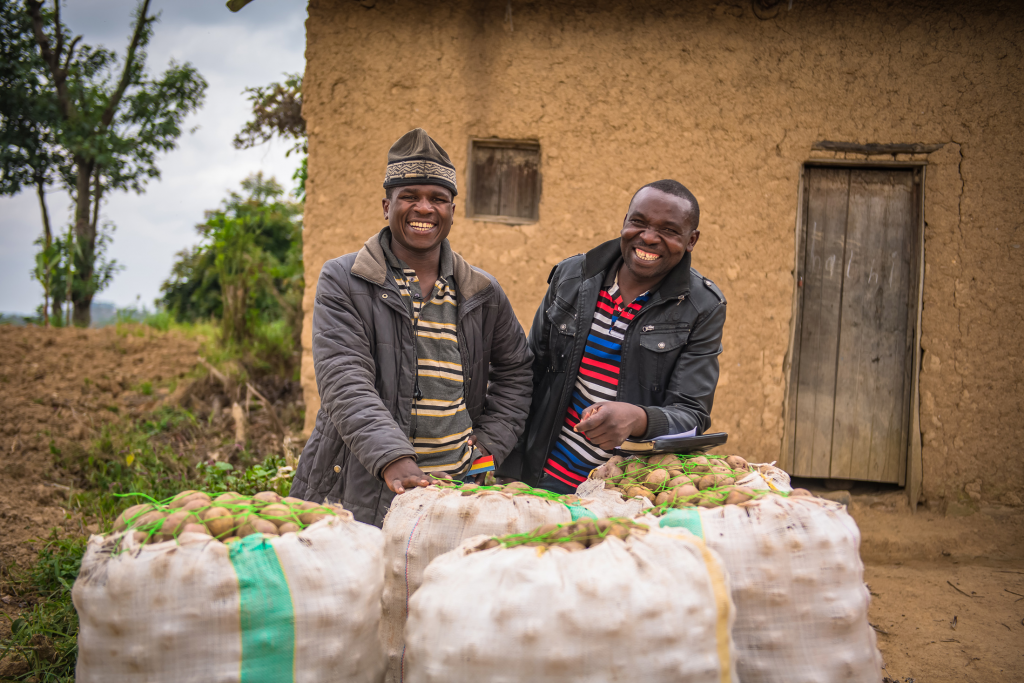 A picture of two Rwandan men with bags of potatoes.